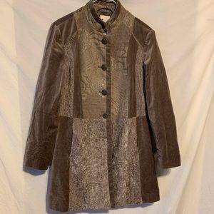 Chico's 2 medium large brown velvety jacket top